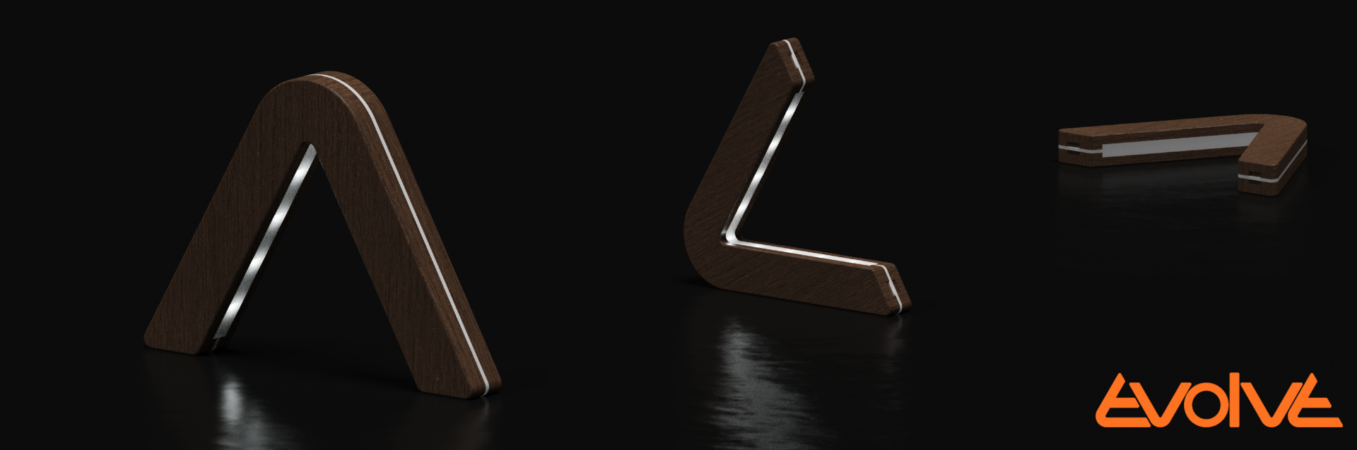 Three renders of a boomerang shaped lighting feature