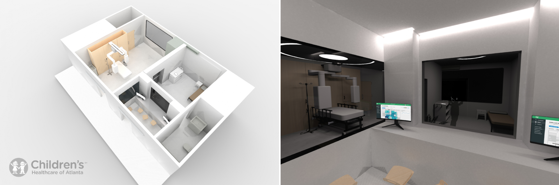 Two digital renders, one is of a 3D floor plan and the other is of an interior room.
