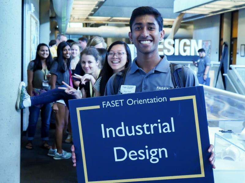 Industrial Design students at FACET orientation going on a campus tour