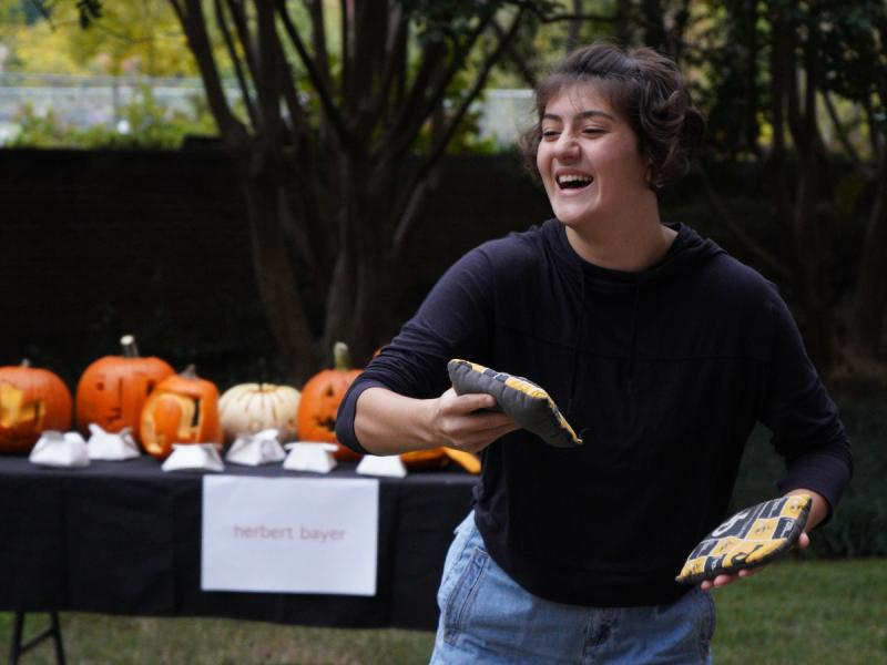 A student enjoys the Annual Pumpkin Ramble.