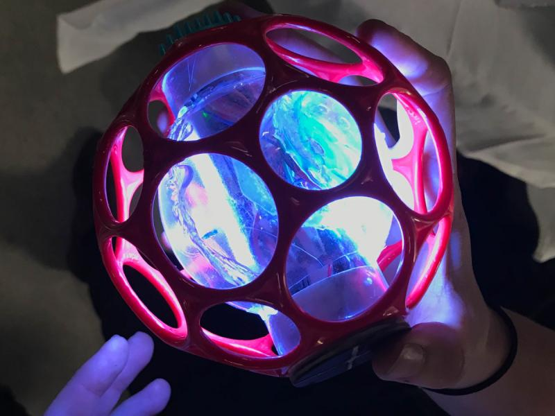 A toy ball that glows. A project showing interactive lights.