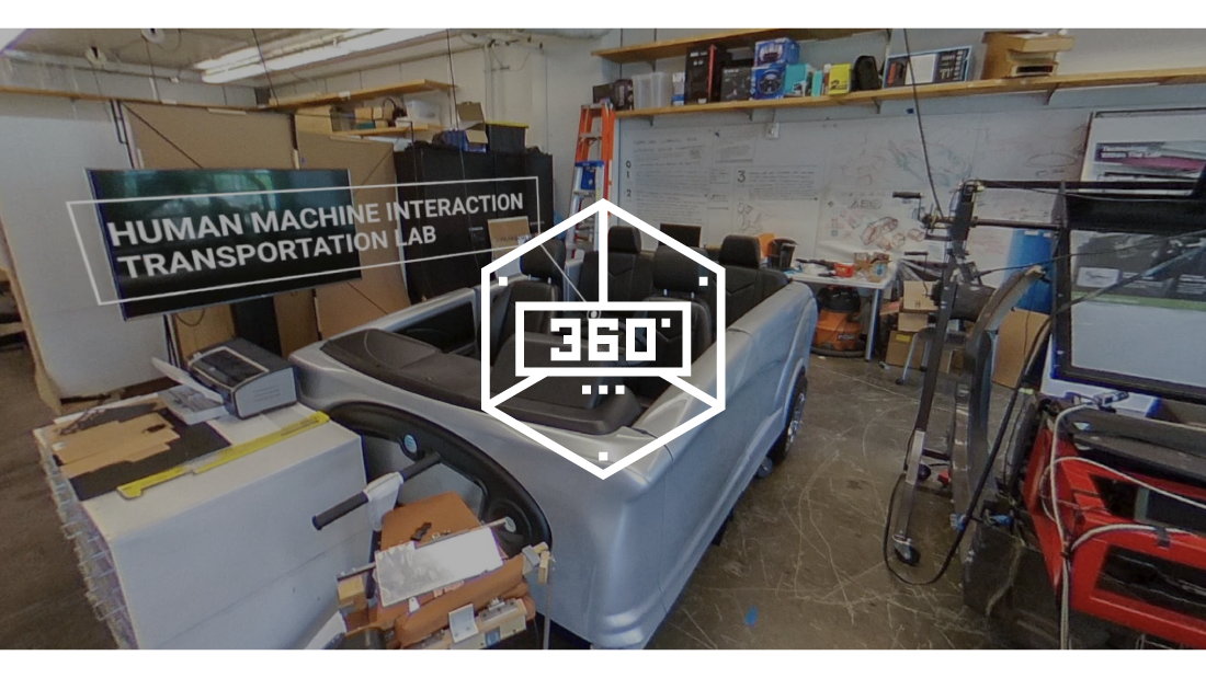 360 Virtual Tour graphic with transportation lab in the background.