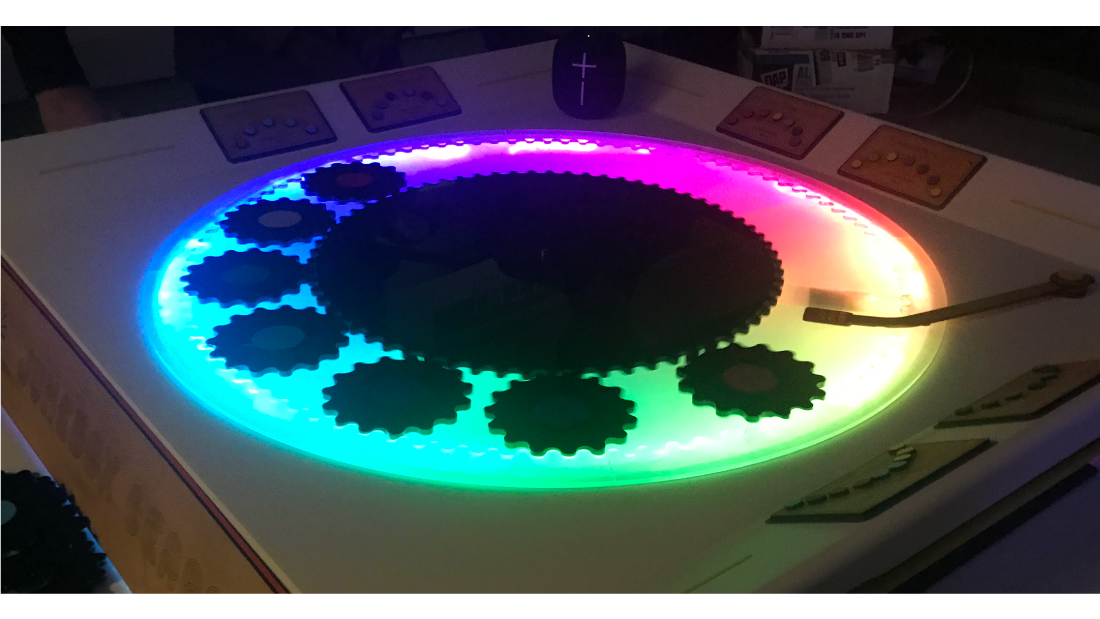 A colorfully-lit, turntable-based student project.