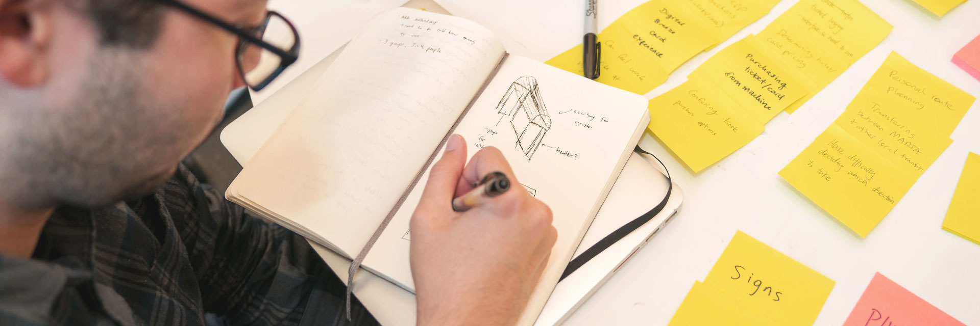 A student sketches while looking at several sticky notes on a desk.