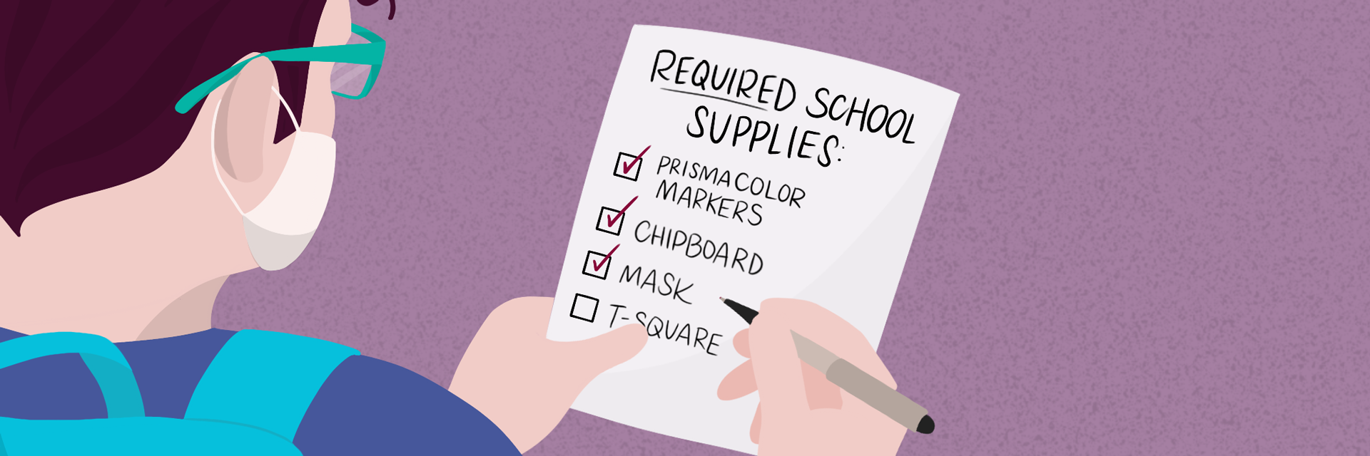 Illustration of student wearing mask and looking at a list of required school supplies with masks checked off