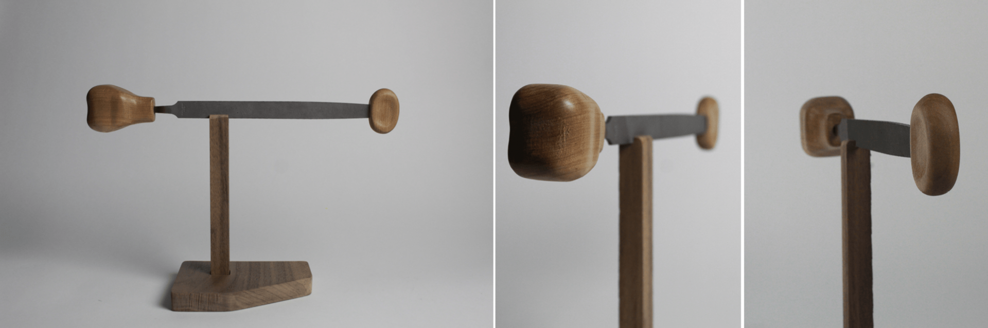 Several angled photos of a long handtool with two wooden handles.