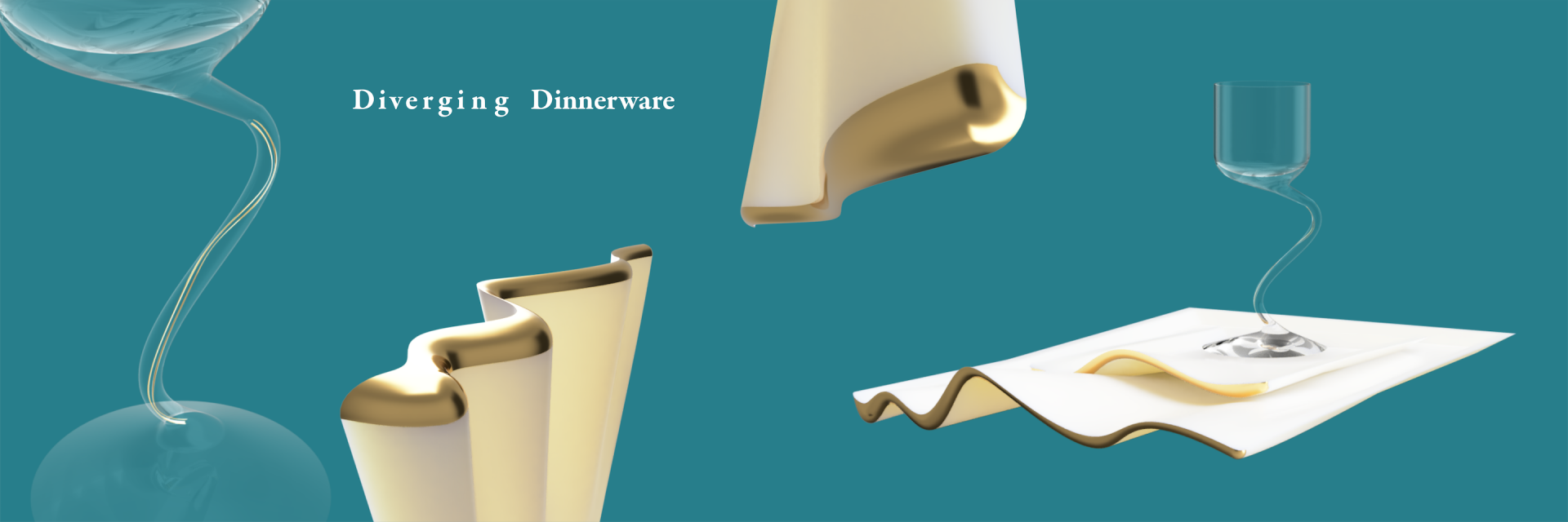 Several renders of curvy dinnerware and a wine glass